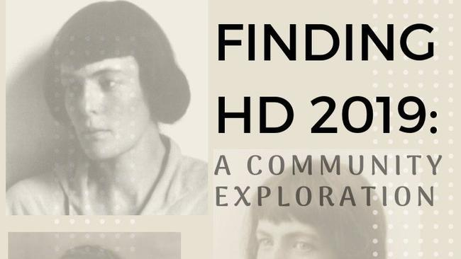 Finding HD 2019: A Community Exploration poster with photo portraits of H.D.