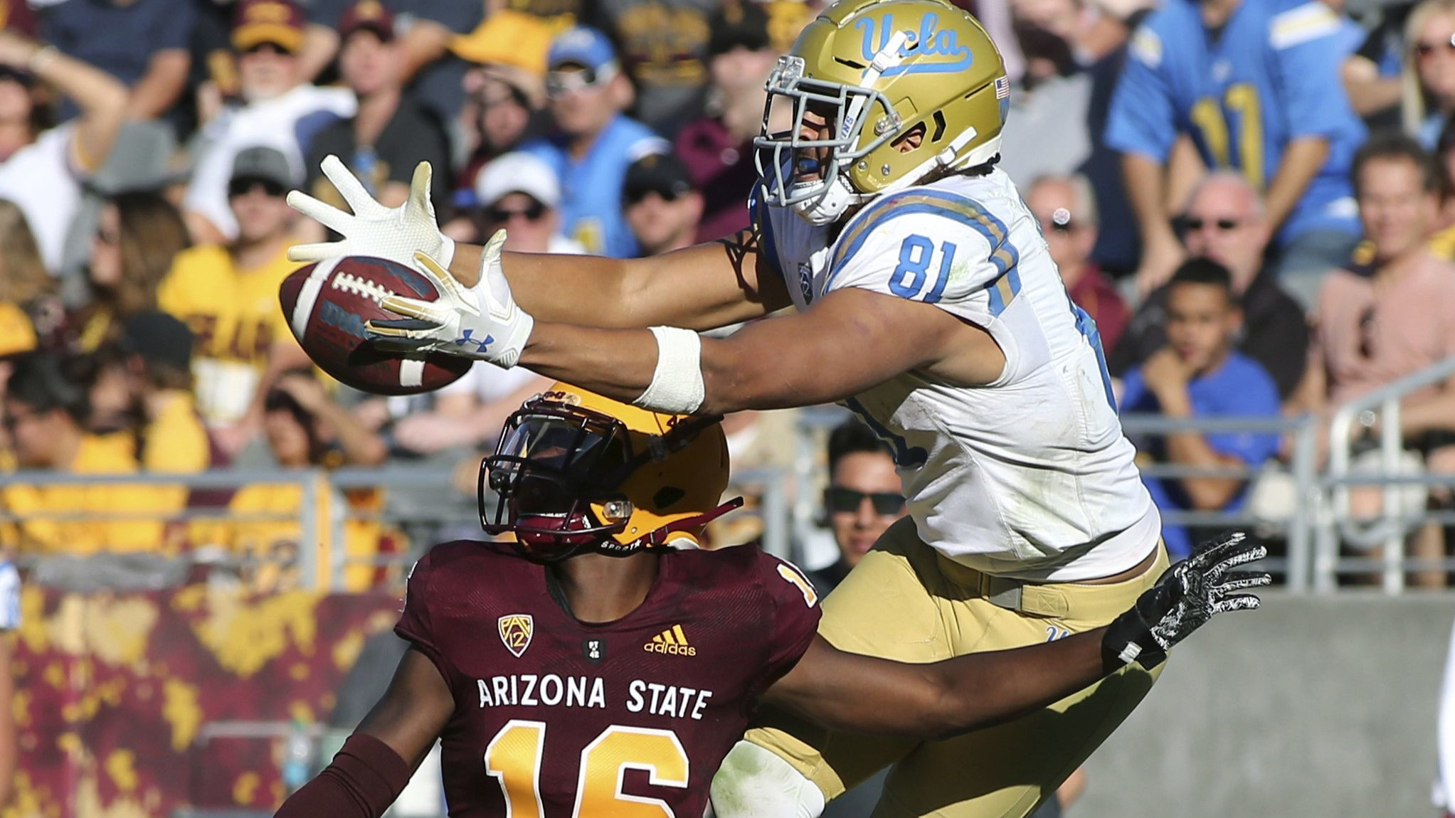 Tight end Caleb Wilson is a busy guy for UCLA at Arizona State