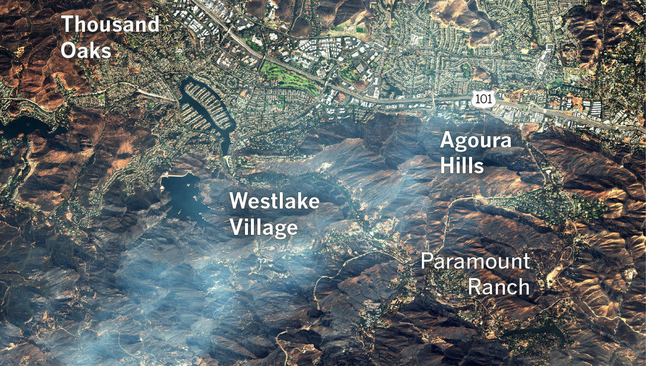 Here's where the Woolsey fire burned through the hills of Southern California
