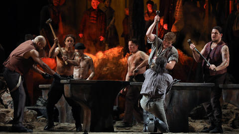 "Actors perform during a dress rehearsal of a Lyric Opera of Chicago production of Giuseppe Verdi's ""Il trovatore"" at the Civic Opera House in Chicago on Wednesday, Nov. 14, 2018."