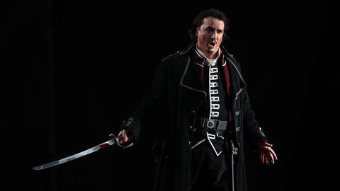 """Artur Rucinski plays Count di Luna during a dress rehearsal of a Lyric Opera of Chicago production of Giuseppe Verdi's """"Il trovatore"""" at the Civic Opera House in Chicago on Wednesday, Nov. 14, 2018."""