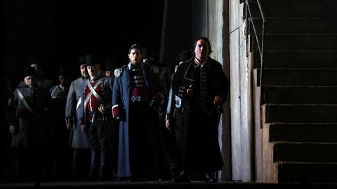 """Artur Rucinski, foreground, plays Count di Luna during a dress rehearsal of a Lyric Opera of Chicago production of Giuseppe Verdi's """"Il trovatore"""" at the Civic Opera House in Chicago on Wednesday, Nov. 14, 2018."""