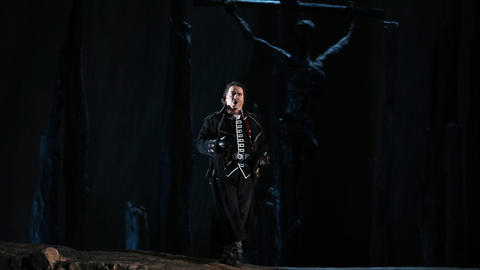 "Artur Rucinski plays Count di Luna during a dress rehearsal of a Lyric Opera of Chicago production of Giuseppe Verdi's ""Il trovatore"" at the Civic Opera House in Chicago on Wednesday, Nov. 14, 2018."
