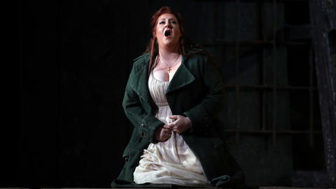"Tamara Wilson plays Leonora during a dress rehearsal of a Lyric Opera of Chicago production of Giuseppe Verdi's ""Il trovatore"" at the Civic Opera House in Chicago on Wednesday, Nov. 14, 2018."