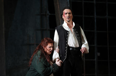 "Tamara Wilson, left, plays Leonora and Artur Rucinski plays Count di Luna during a dress rehearsal of a Lyric Opera of Chicago production of Giuseppe Verdi's ""Il trovatore"" at the Civic Opera House in Chicago on Wednesday, Nov. 14, 2018."