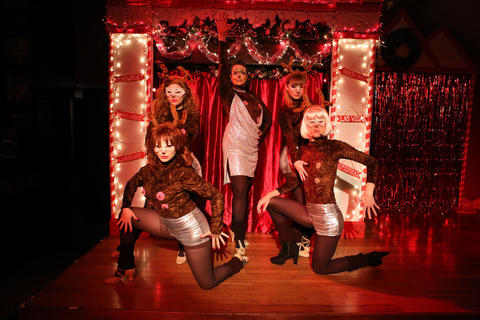 Sharon Rae Ryan, Amelia Bell, Sydney Genco, Marissa Williams and Patrick Stengle in Hell in a Handbag Productions' world premiere of Snowgirls at Mary's Attic.