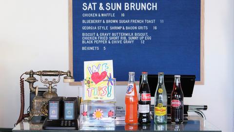 Beverages and weekend brunch menu at BYOB Luella's Gospel Bird in the Bucktown neighborhood of Chicago.