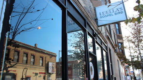 Sign and storefront at Luella's Gospel Bird in the Bucktown neighborhood of Chicago.