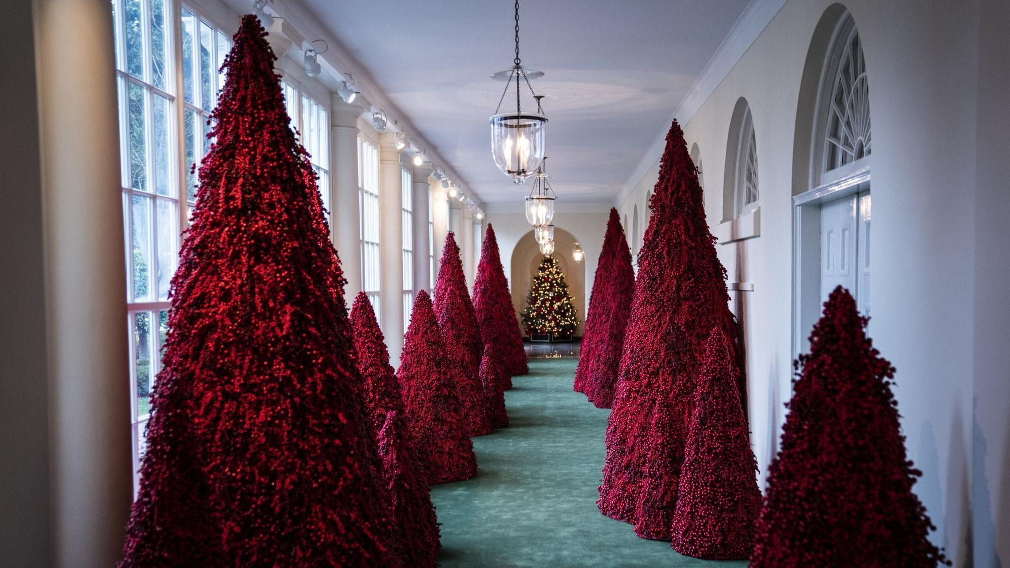 melania trump didnt show up to explain her spooky christmas decorations so what about those red trees the morning call