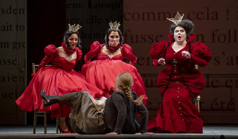 """Left to right: Step-sisters Kayleigh Decker as Dorothee and Emily Pogorelc as Noemie with stepmother Elizabeth Bishop as Mme. de la Haltiere sit above Siobhan Stagg as Lucette (Cendrillon) as they perform in a dress rehearsal Wednesday, Nov. 28, 2018 of Massenet's """"Cendrillon"""" at the Lyric Opera. (Brian Cassella/Chicago Tribune)"""