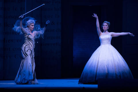 """Marie-Eve Munger as the Fairy Godmother (left) and Siobhan Stagg as Lucette (Cendrillon) perform in a dress rehearsal Wednesday, Nov. 28, 2018 of Massenet's """"Cendrillon"""" at the Lyric Opera. (Brian Cassella/Chicago Tribune)"""