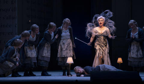 """Marie-Eve Munger as the Fairy Godmother (top) above a sleeping Siobhan Stagg as Lucette (Cendrillon) perform in a dress rehearsal Wednesday, Nov. 28, 2018 of Massenet's """"Cendrillon"""" at the Lyric Opera. (Brian Cassella/Chicago Tribune)"""