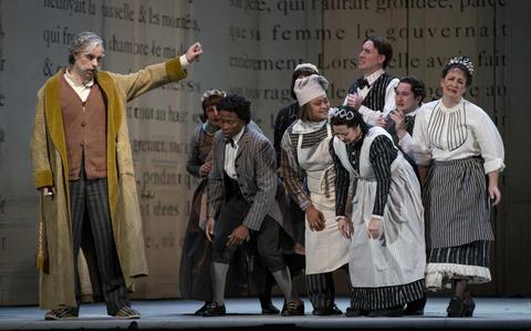 "Derek Welton as Pandolfe (left) performs in a dress rehearsal Wednesday, Nov. 28, 2018 of Massenet's ""Cendrillon"" at the Lyric Opera. (Brian Cassella/Chicago Tribune)"