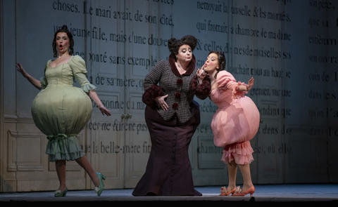 """Left to right: Kayleigh Decker as Dorothee, Elizabeth Bishop as Mme. de la Haltiere, and Emily Pogorelc as Noemie perform in a dress rehearsal Wednesday, Nov. 28, 2018 of Massenet's """"Cendrillon"""" at the Lyric Opera. (Brian Cassella/Chicago Tribune)"""