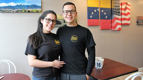 Wife and husband owners Maria Uzcategui and chef Kharim Rincon on Nov. 16, 2018, at Rica Arepa Venezuelan Cafe in Hermosa.