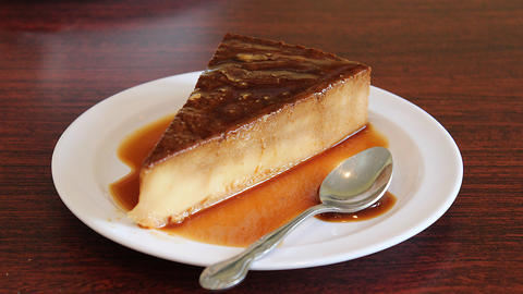 Quesillo flan dessert with eggs, condensed milk, caramelized sugar and rum.