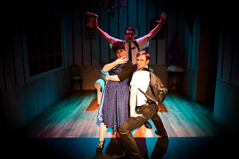 "Sam Massey, Nicole Frydman and Michael Idalski in Flying Elephant Productions' revival of  ""The Book of Merman."""
