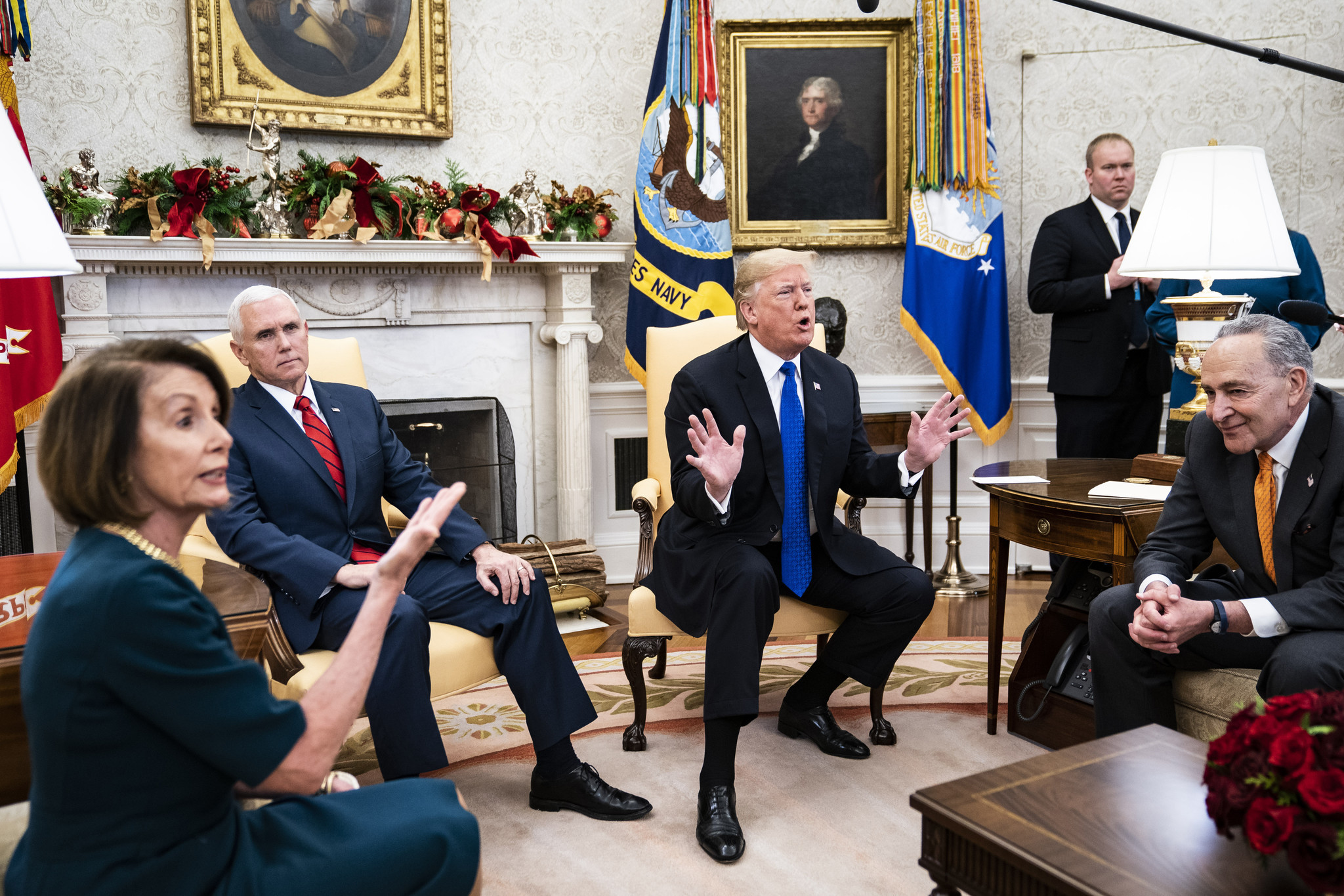 Border wall negotiations devolve into on-camera shouting match between President Trump, Nancy Pelosi and Chuck Schumer