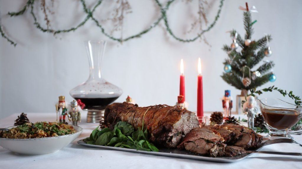 Christmas dinner spiced up with roast leg of lamb