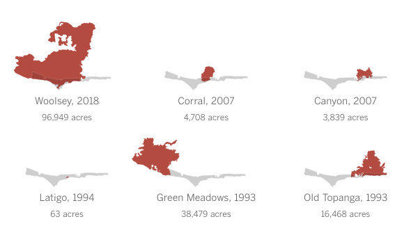 A Century Of Malibu Wildfires In 30 Maps Los Angeles Times