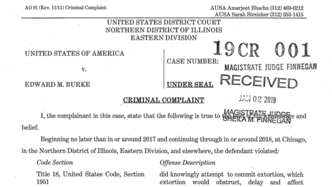 Read the criminal complaint filed against Ald. Edward Burke