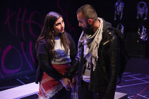 "Gloria Imseih Petrelli abd Salar Ardebili in Interrobang Theatre Project's ""I Call My Brothers,"" on stage at the Rivendell Theater in Chicago."