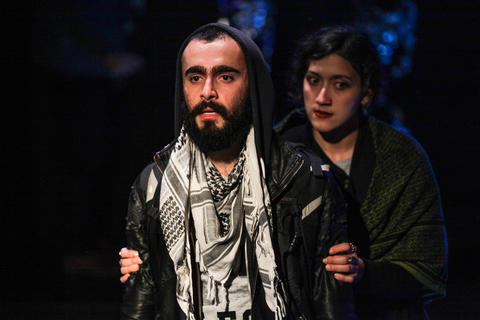 "Salar Ardebili and Tina El Gamal in Interrobang Theatre Project's  ""I Call My Brothers,"" on stage at the Rivendell Theater in Chicago."