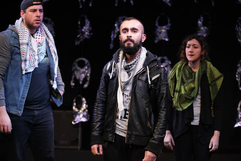 "Chris Khoshaba, Salar Ardebili and Tina El Gamal in Interrobang Theatre Project's ""I Call My Brothers,"" on stage at the Rivendell Theater in Chicago."