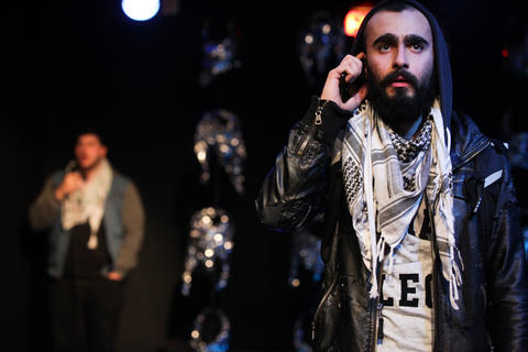 "Chris Khoshaba and Salar Ardebili in Interrobang Theatre Project's ""I Call My Brothers,"" on stage at the Rivendell Theater in Chicago."
