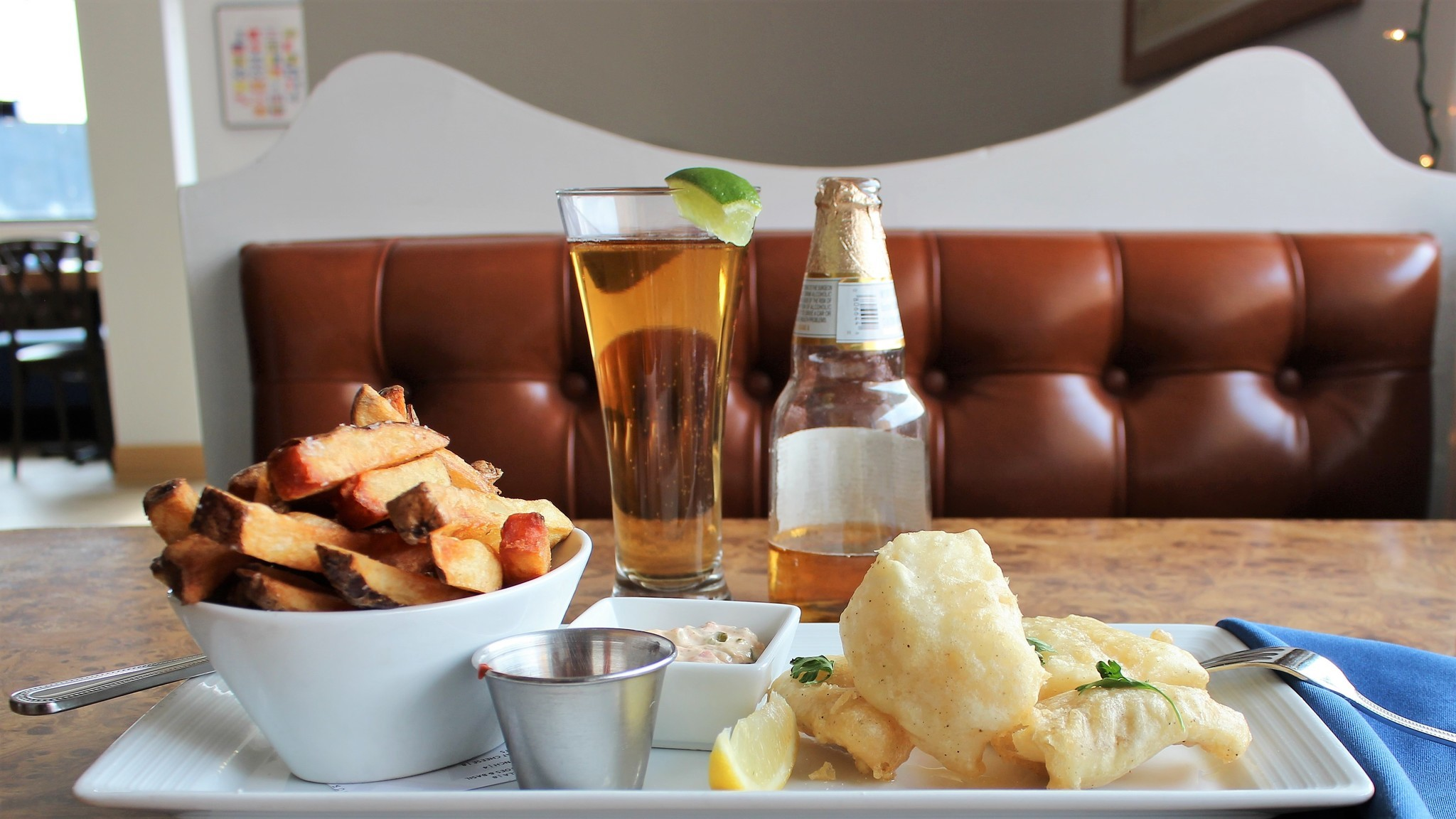 Fish and chips and a beer at Interurban Boathouse