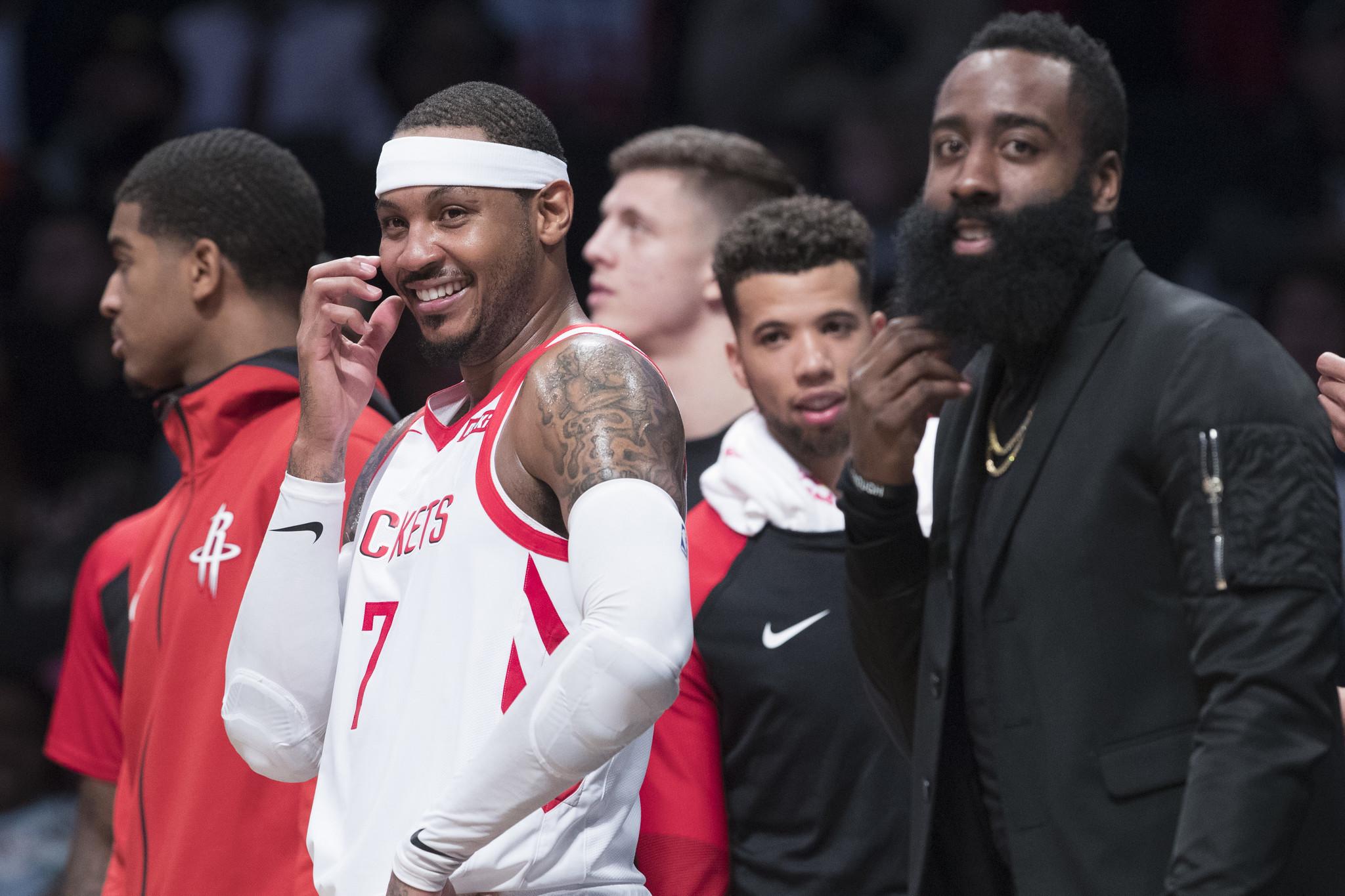 ab21d890e32e No Carmelo Anthony as Rockets face Knicks  James Harden brings his scoring  streak to the