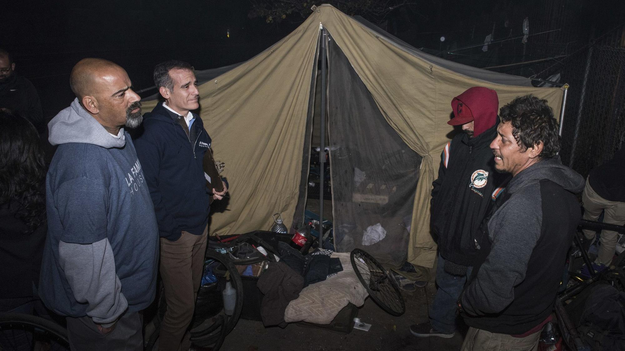 Mayor Eric Garcetti kicks off annual L.A. homeless count: 'Counting is the beginning of caring'