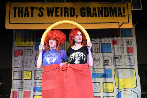 "Barrel of Monkeys company members Meredith Milliron and Laura McKenzie perform ""Dear Purse Landlord"" in That's Weird, Grandma: Star-Studded Stories."