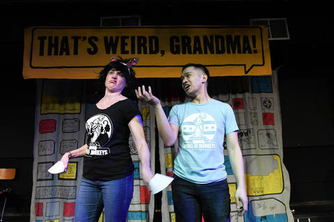 "Barrel of Monkeys company members Laura McKenzie and Bryan Bosque perform ""Evil Horse"" in That's Weird, Grandma: Star-Studded Stories."