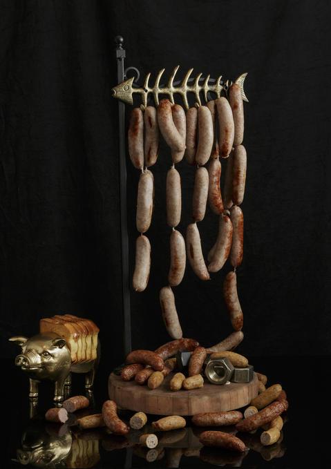 Hanging sausages atBarton G. The Restaurant Chicago.