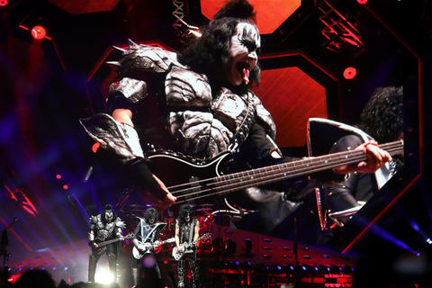 Bassist Gene Simmons is cast on the big screen as Kiss performs during their End of the Road tour at the United Center in Chicago, on Saturday, March 2, 2019.