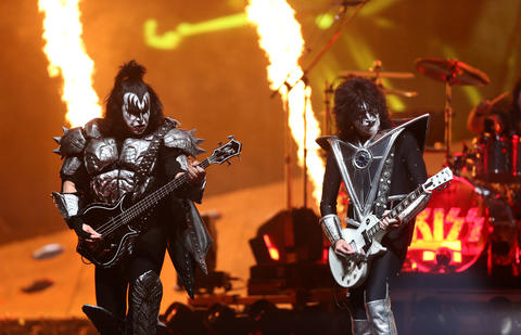 Kiss bassist Gene Simmons and guitarist Tommy Thayer perform during their End of the Road tour at the United Center in Chicago, on Saturday, March 2, 2019.