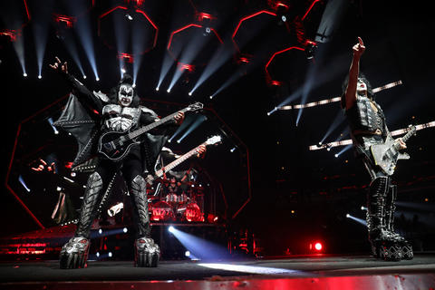 Gene Simmons (left) and Paul Stanley lead Kiss during their End of the Road tour at the United Center in Chicago, on Saturday, March 2, 2019.