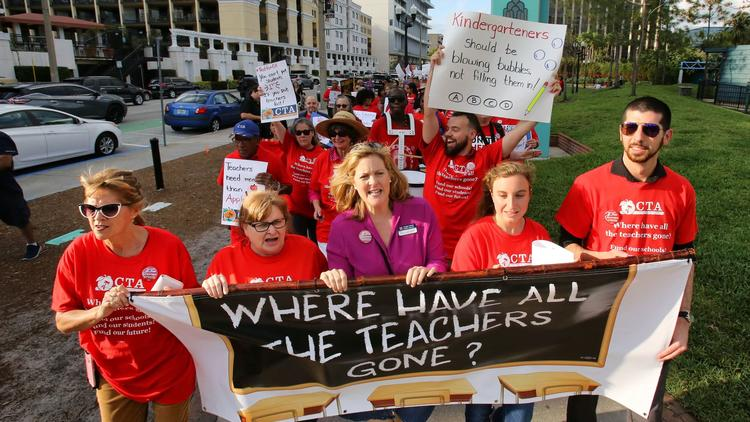 Orange teachers join statewide march for school funding