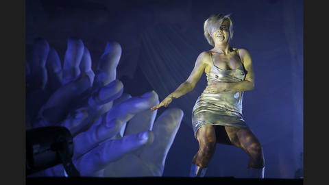 Pop singer Robyn dances while performing at Aragon Ballroom.