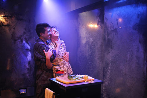 Scott Shimizu and Collin Quinn Rice in First Floor Theater's world premiere ofMike Pence Sex Dreamat the Den Theatre.