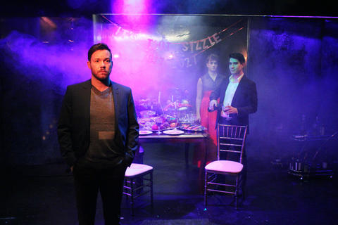 Gage Wallace, Collin Quinn Rice and Scott Shimizu in First Floor Theater's world premiere ofMike Pence Sex Dreamat the Den Theatre.