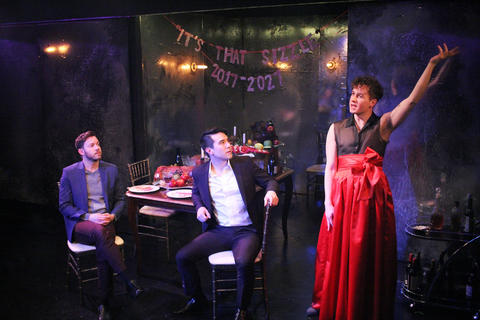 Gage Wallace, Scott Shimizu and Collin Quinn Rice in First Floor Theater's world premiere ofMike Pence Sex Dreamat the Den Theatre.