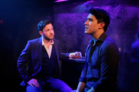 Gage Wallace and Scott Shimizu in First Floor Theater's world premiere ofMike Pence Sex Dreamat the Den Theatre.