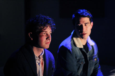 Collin Quinn Rice and Scott Shimizu in First Floor Theater's world premiere ofMike Pence Sex Dreamat the Den Theatre.