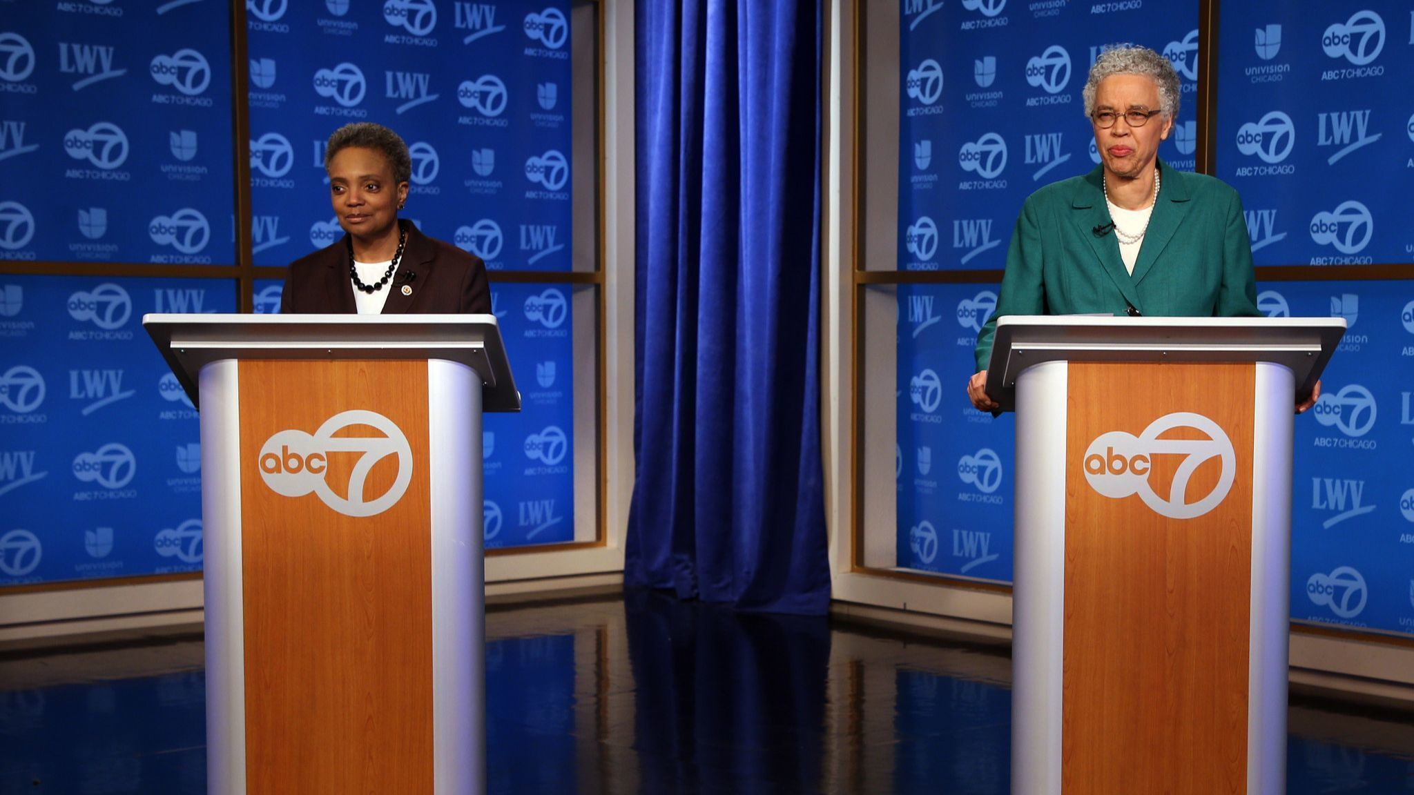 In TV debate, Toni Preckwinkle seizes on whether Lori Lightfoot has the experience to run Chicago