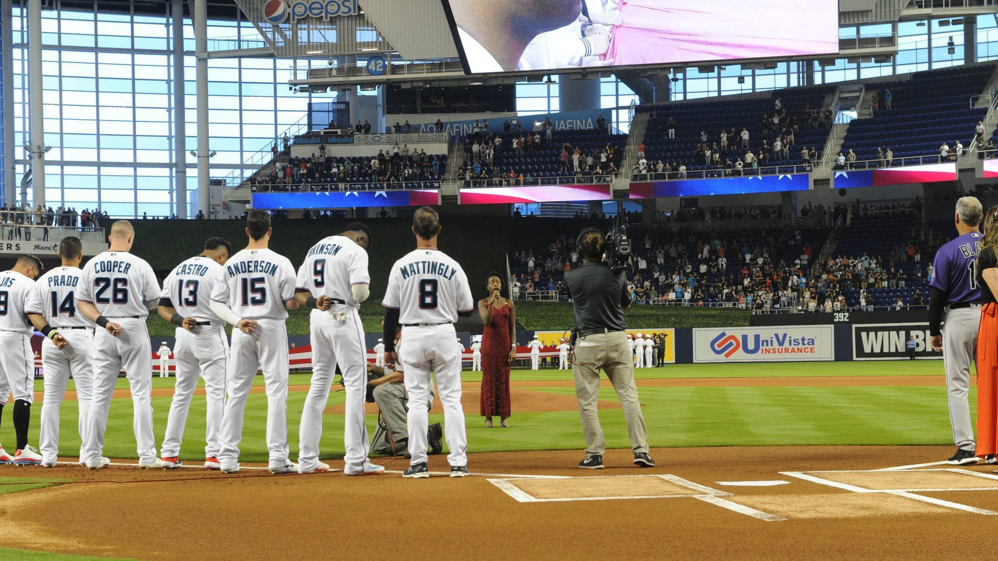 South Florida singers (and one TV anchor) make their debut for Miami Marlins opening week