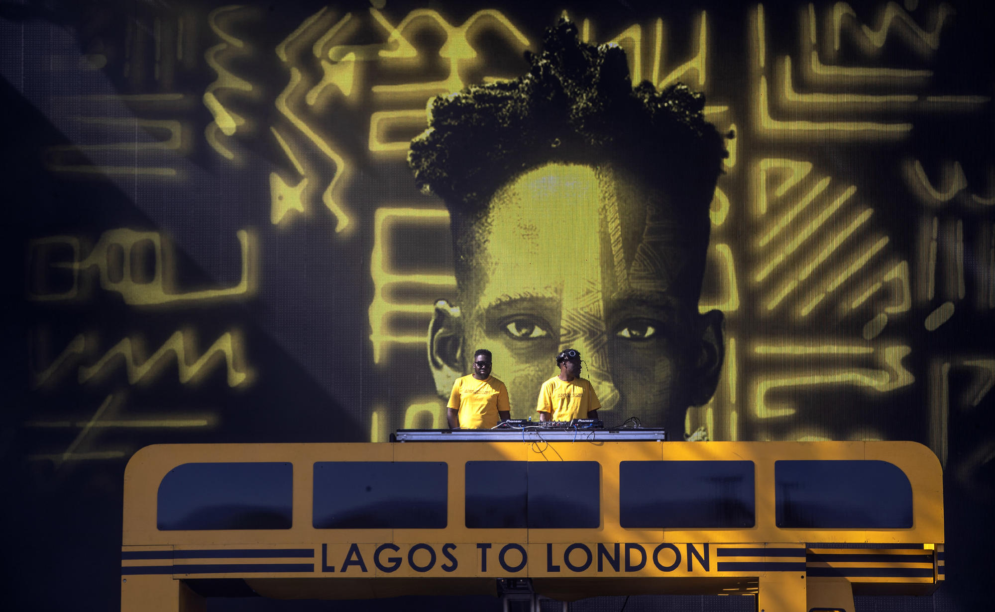 DJs with projection of Mr Eazi