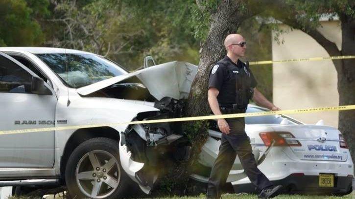 Man, 84, dies as his pickup truck hits tree in Sunrise