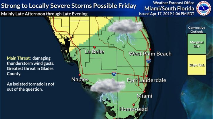 Friday could see severe storms and possible tornado as cold front moves across South Florida